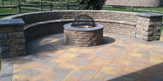 EP Henry Bristol Stone paver patio with custom bench and fire pit