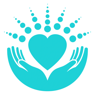 Therapyworks massage in New Port Richey Logo of all teal, hands holding a heart with mandala circles