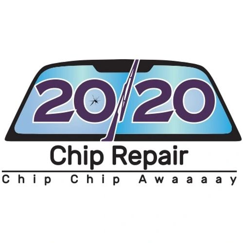 20/20 Chip Repair. Auto, windshield, rock chip repair logo. Auto glass repair. Windshield repair