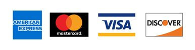 We accept Visa MC, AMX, Discover