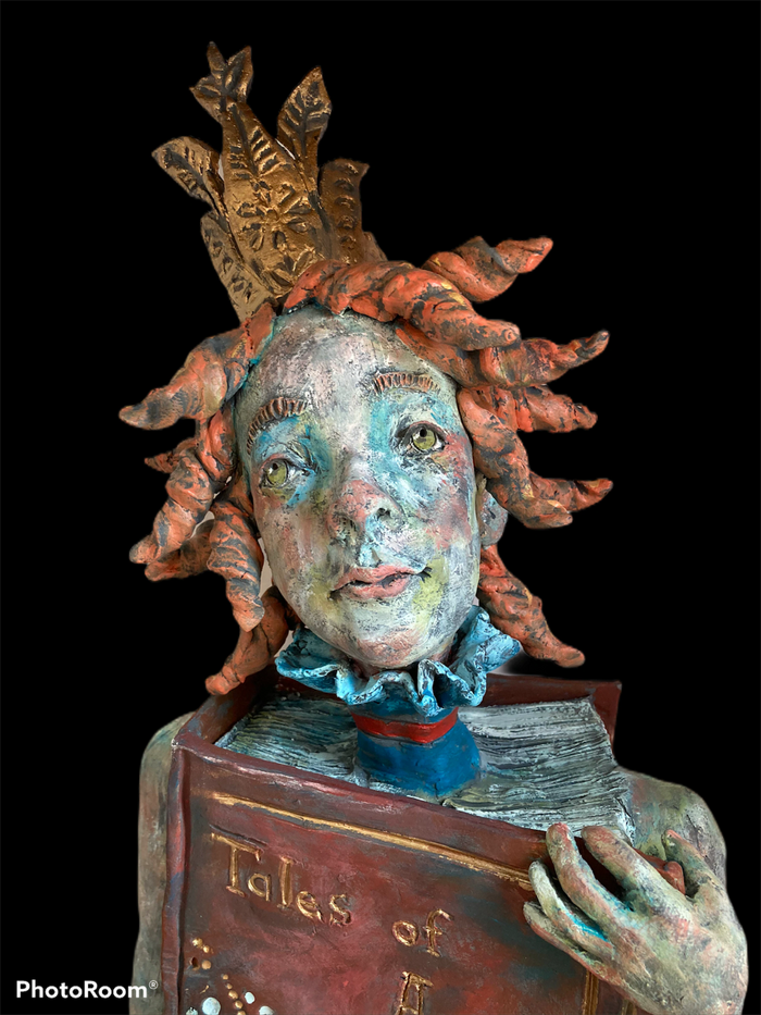 Whimsical ceramic figurative sculpture of a girl telling her story.