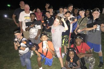 A church group played Laser Battalion tactical laser tag one afternoon and evening in Oakland TN.