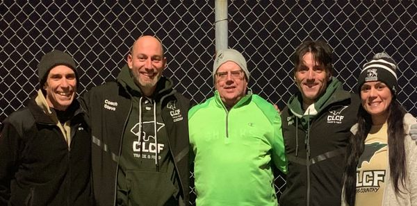 XC coaches from l to r-Mike Fadil, Stephen Johnson, Tom Aman, Frank Notarianni and Nicole Renzulli.