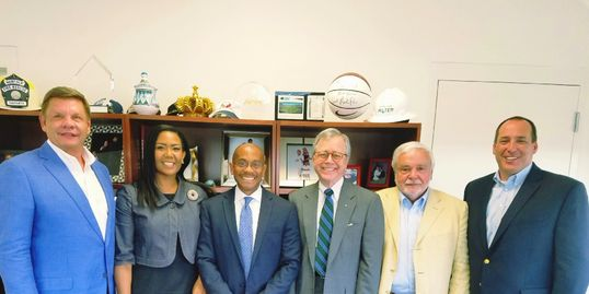City Manager Marcus Jones with Victoria Nwasike, Ray Eschert, Ed Driggs, Tim Morgan and Stephen