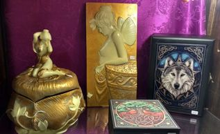 Art Nouveau style Goddess gold and Ivory trinket box, Fairy wall plaque, Celtic ' Tree of Life' velvet lined box with mirror, Wolf box - wood and tile with beautiful clasp.