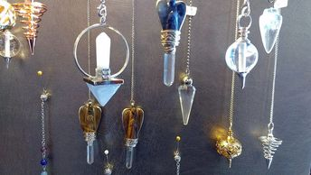 Dowsing Pendulums, Gemstone, metal, brass and wood