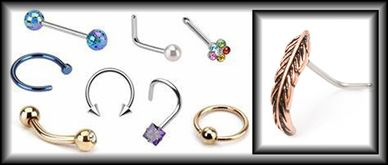 All styles of Nose Jewelry available;Straight studs, bent, Nose Bones, Fish tails Circular nail head, Spirals, hoops and Nose Huggers. in 9.25 sterling silver, 316 surgical steel, IP Gold and Rose Gold