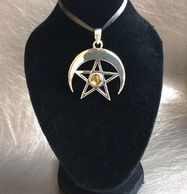9.25 Sterling Silver crescent moon and pentacle pendant with faceted Citrine gemstone