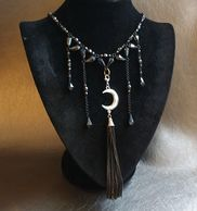 Handmade Hematite, chain and crescent moon necklace by Patti Newton owner of Silver Moon Adornments