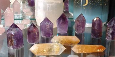 Unique Collection of Amethyst polished points just discovered new from 1997, Citrine polished double terminated points