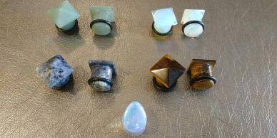 Green Aventurine, Opalite, Sodalite, and Tigers Eye gemstone pyramid Single Flare Plugs