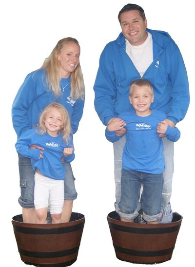 Cutout image of owner, Nicole's family grape stomping.