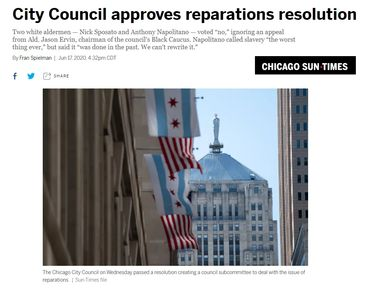 "As typical Chicago Politics goes NCOBRA asked for a Reparations Commission and gets a ""Committee""."