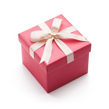 Pink box with a white ribbon tied around it