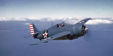 The Grumman F4F Wildcat is an American carrier-based fighter aircraft