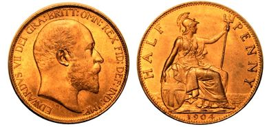 Edward VII 1904 Half Penny Uncirculated Choice