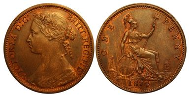 Queen Victoria 1874 penny uncirculated copper coin collecting numismatics recently sold