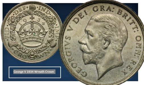 George V 1934 Wreah Crown numismatics coin collecting