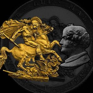 St George and the dragon Benedetto Pistrucci Gold silver coins design engraver numismatics royal