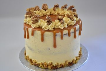 salted caramel and carrot cake with toasted walnuts and caramel drip