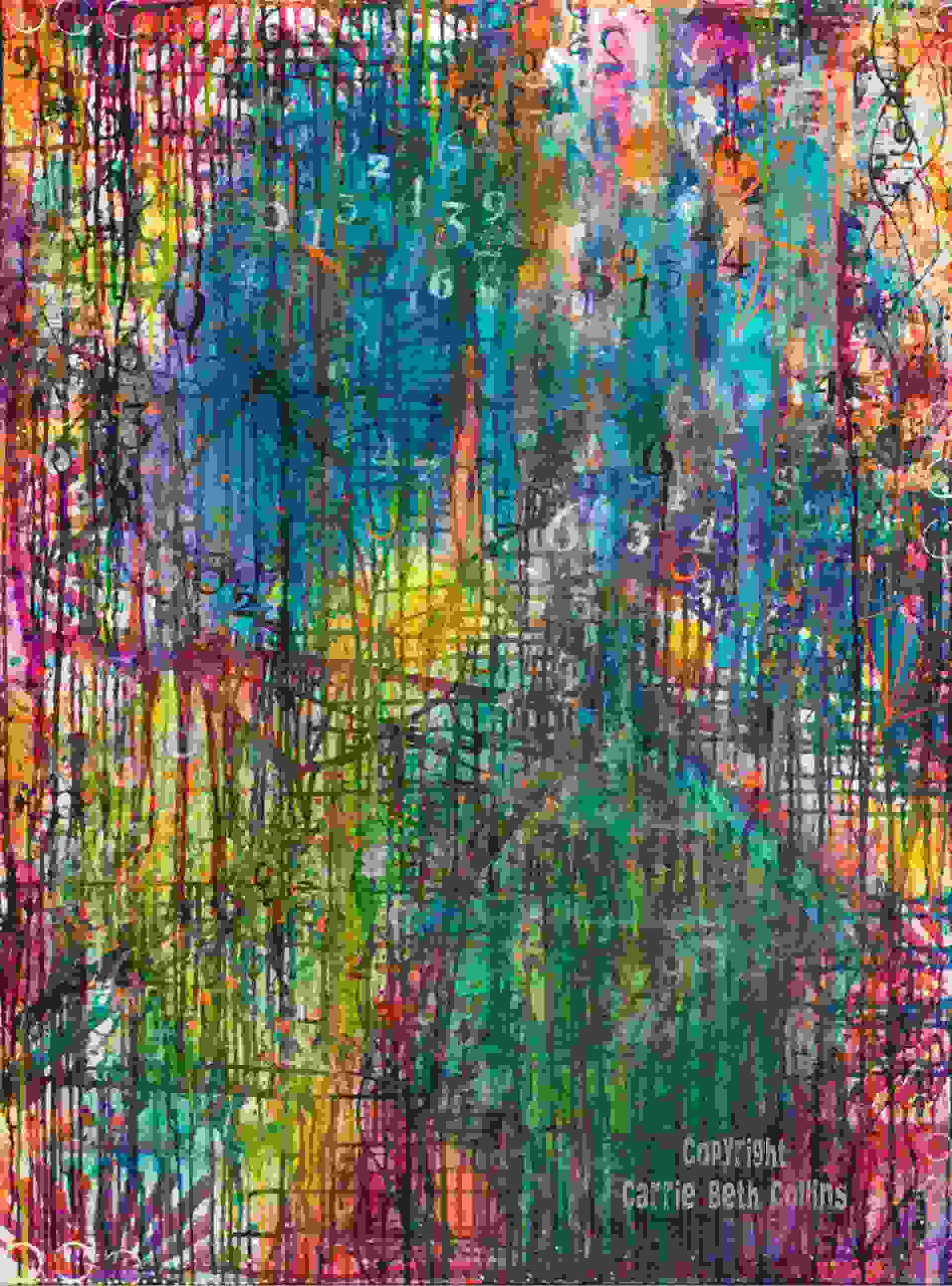 abstract, drippy, art, painting, Carrie Beth Collins, contemporary, rainbow, matrix, artist
