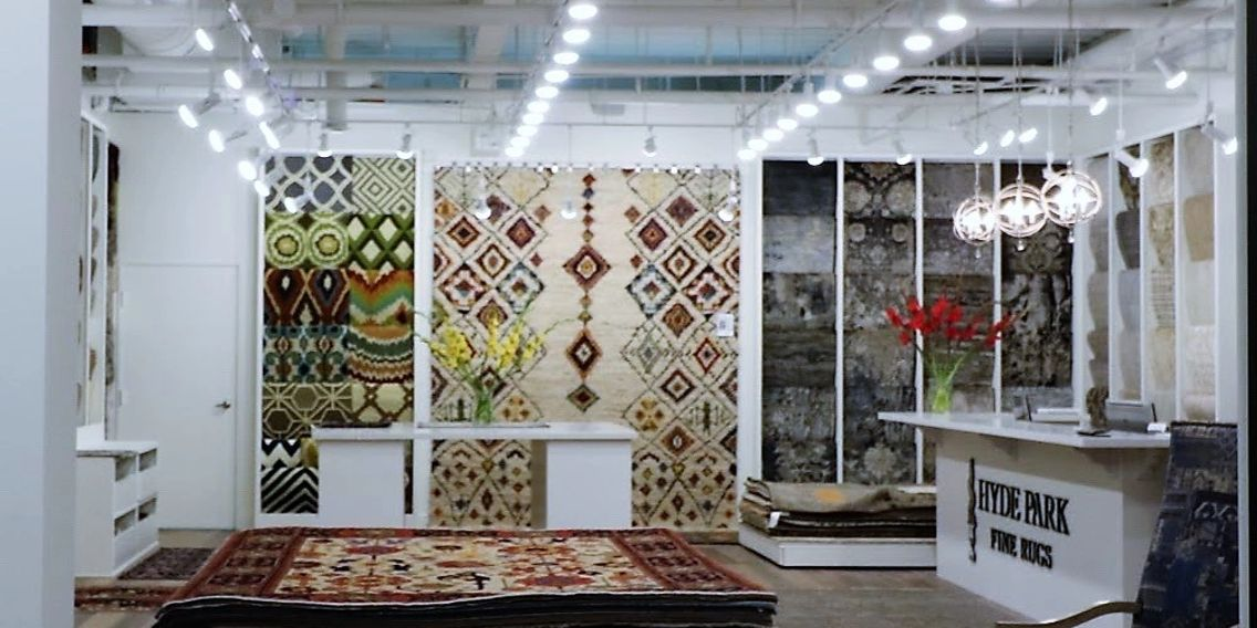 Interior photo of our Hyde Park Fine Rugs Store
