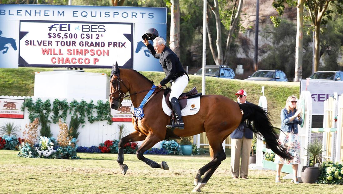Will Simpson and Chacco P at winning Showpark Del Mar. EquiZen Pro Powered.