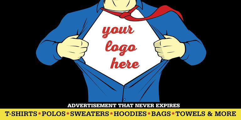 Your logo here t-shirt polos sweaters hoodies bags towels shirts advertisement that never expires