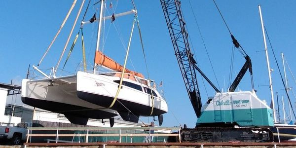 Catamaran being Hauled out