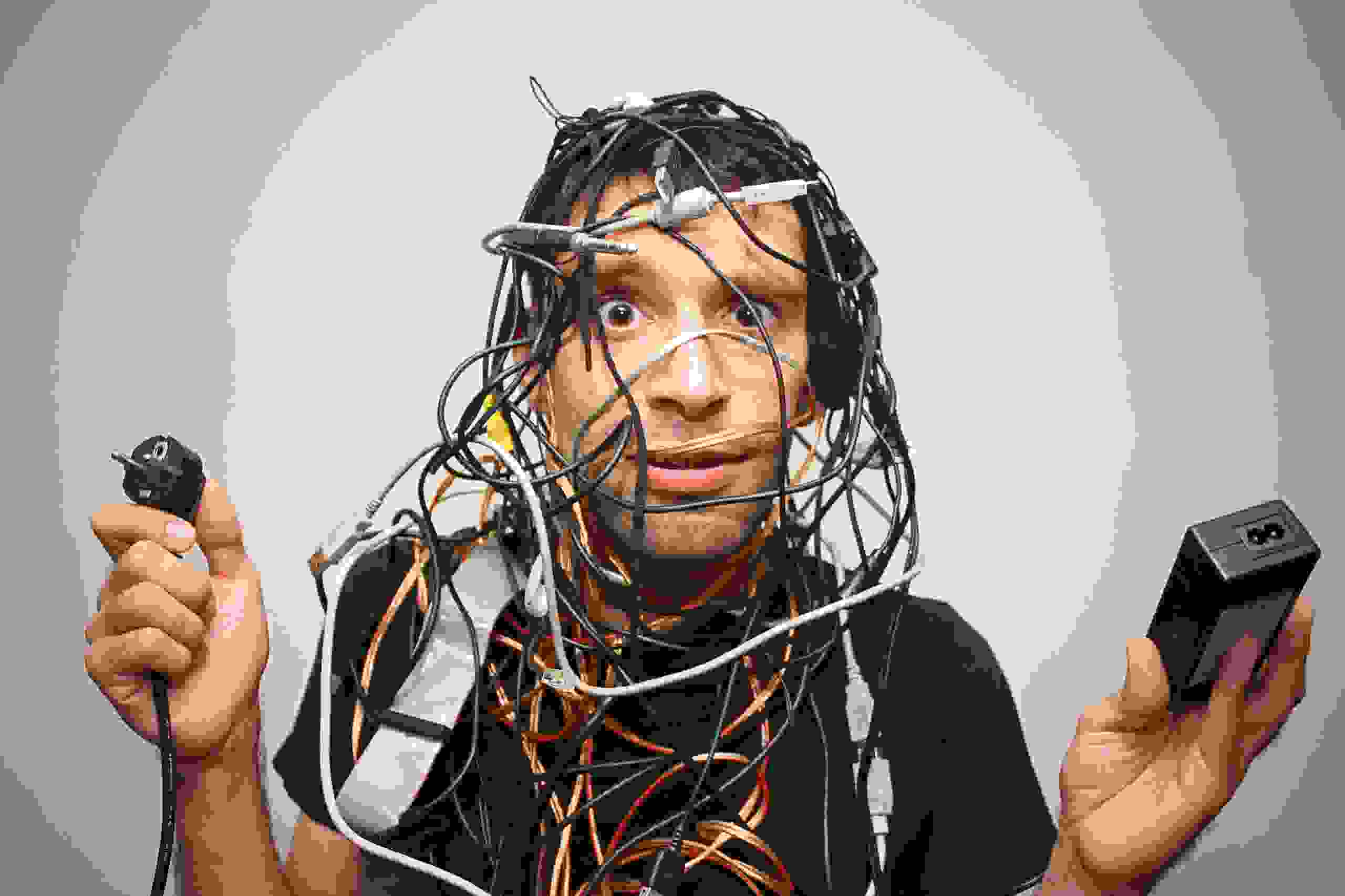 guy covered in wires