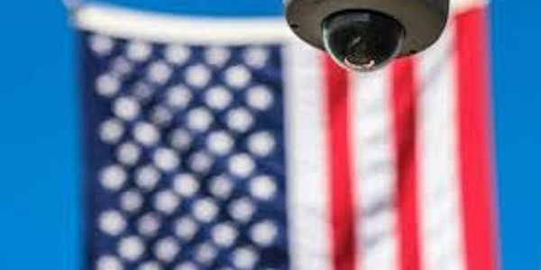 security camera and american flag