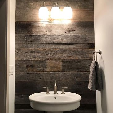 barn wood bathroom accent wall barnwood rustic style industrial reclaimed wood remodel design oak