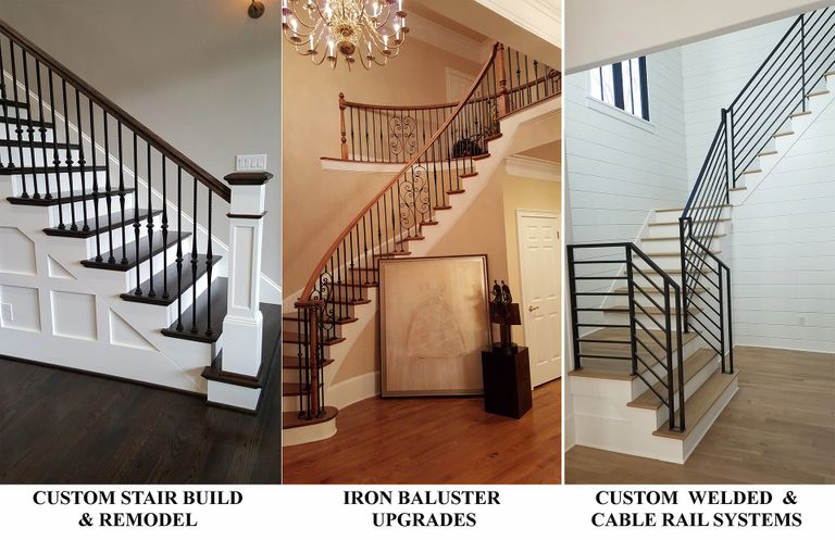 Custom Stair Rebuild & Remodel, Iron Baluster Upgrades, Custom Welded & Cable Rail Systems