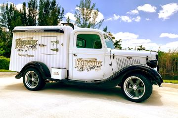 Karmic Ice Cream's 1935 Ford Hot Rod Ice Cream truck in Ft Lauderdale