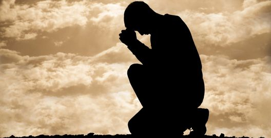 Man praying and thanking god for giving hope in solving the impotence and fixing sexual problems.