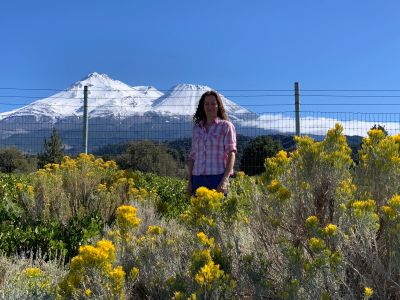 Here I am with majestic Mt. Shasta located in Northern California in the background.