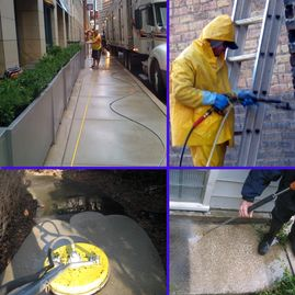 Power Washing concrete and brick masonry.