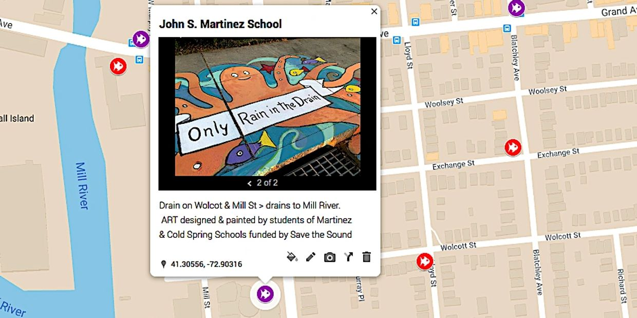 Runoff Art map of stormwater runoff art projects, rain barrels, storm drains, watersheds, and more.