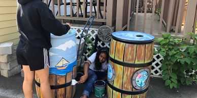 Painting Rain Barrels - Art of Catching Rain