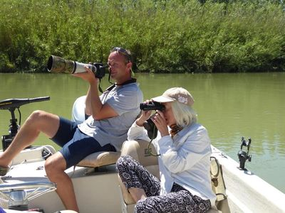 Al Henderson leading a guided bird watching tour on the Ebro Delta.