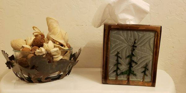 Kleenex box holder and bowl custom metal art