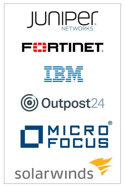 Juniper Networks, Fortinet, IBM, Outpost24, Micro Focus, Solarwinds