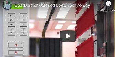 Closed-loop powder coating with coatmaster non-contact film thickness gauge