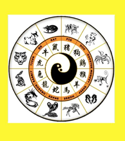 image of the yin and yang symbols surrounded by the 12 animals of the Chinese zodiac