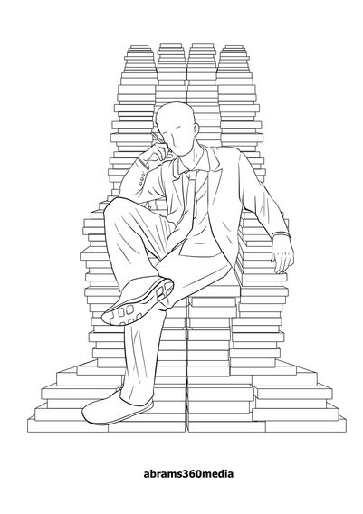 The man on the manuscript logo  represents the volumes he can write.