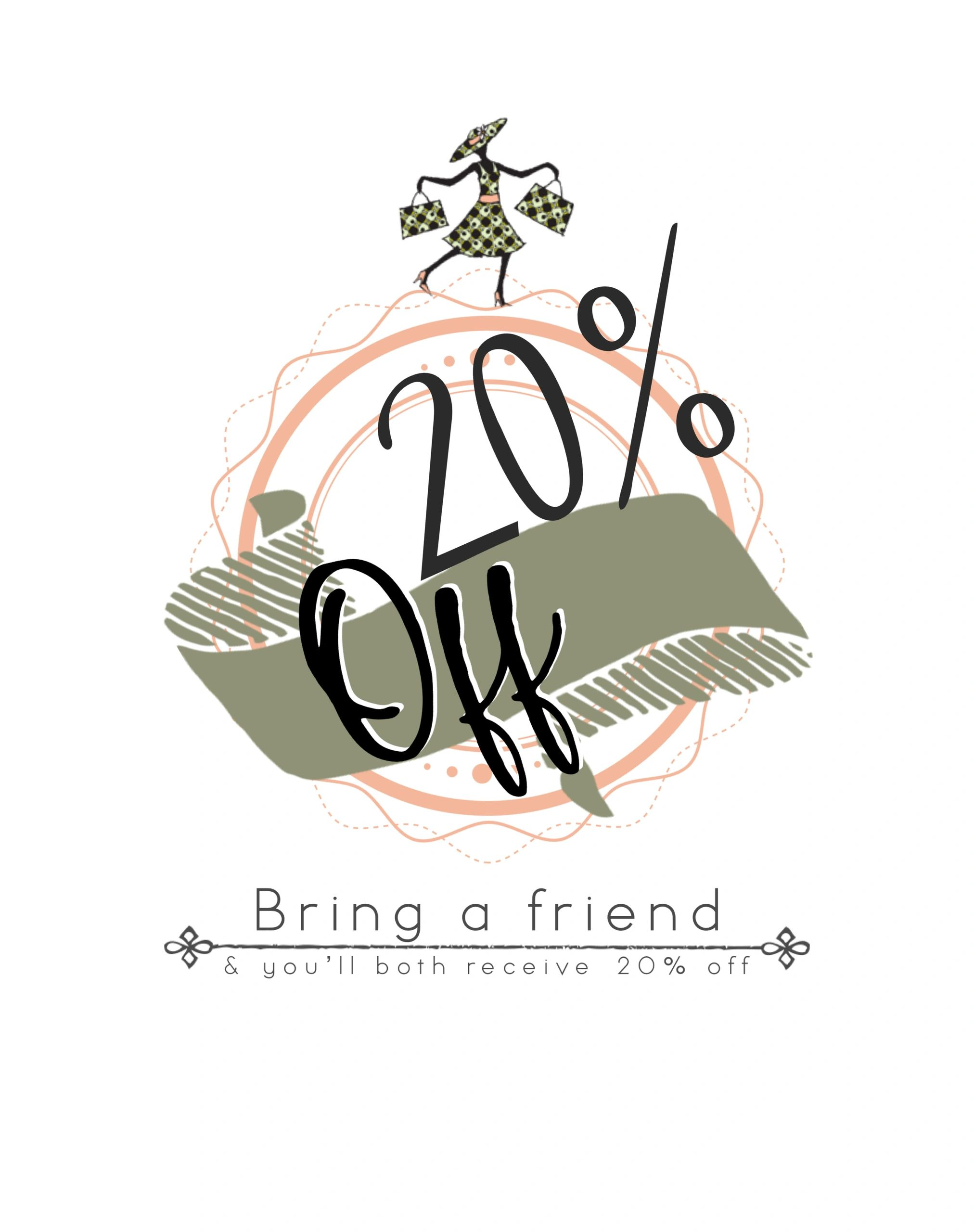 20 percent off at olivia's consignment shop