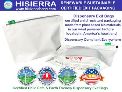 HISIERRA exit bags are certified earth friendly and child resistant packaging for cannabis