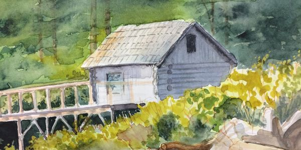 "Quadra Island Cabin, watercolour, 6""x8"""