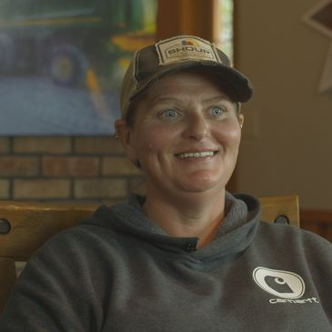 Cathy Berry, a grain farmer from Wisconsin smiles during her interview.
