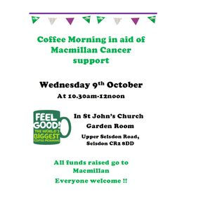 Our Monthly coffee morning in October will be to help raise funds for Macmillan Cancer Support